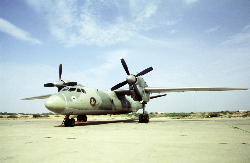 A Peruvian AN-32 Cline aircraft stands on the flight line during a joint exercise involving Air Force units from the United States and Peru.